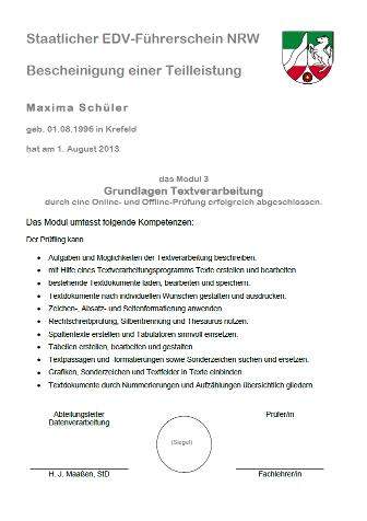 Berufskolleg Kaufmannsschule der Stadt Krefeld - EDV-Führerschein